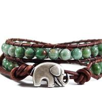 African Jade Leather Wrap Bracelet, Elephant Bracelet, Beaded Wrap Bracelet