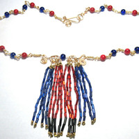 "19.5"" Bib Necklace Cobalt Blue Glass Coral Red Stone Wire Wrapped Beads"