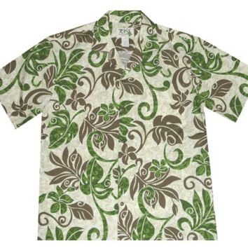 KY's Mens Button Down Hawaiian Shirt with Green and Brown Hawaiian Leaves