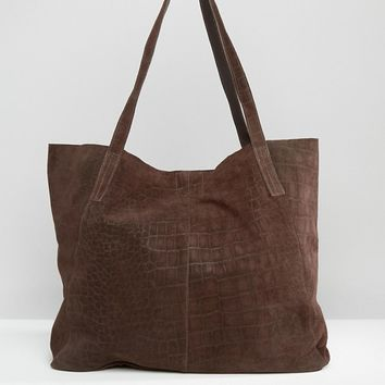 ASOS Suede Embossed Croc Shopper Bag at asos.com