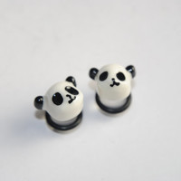 Panda Acrylic Plugs, Ear Gauges, Stretched Ears, Weddings, Cute, Unisex, Black, White, Animals, Nature, Kawaii, Plugs for Girls, CHOOSE SIZE
