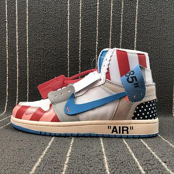 OFF WHITE x Air Jordan 1 Custom Parra Blue White Red Sport Basketball Shoes