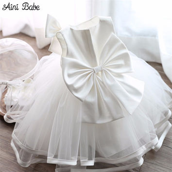 Lush Baby Boutique Dresses Clothing Princess Toddler Girl 1 Year Birthday Party Dress Big Bow Tutu Kids Tulle Dresses For Girls