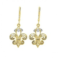 1/8ct tw Diamond Drop of Life Earrings in 14K Yellow Gold - Diamond Earrings - Jewelry & Gifts