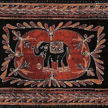 Lucky Elephant Batik Print Tapestry Wall Hanging Tablecloth Spread Throw Twin