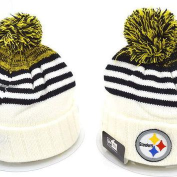 DCCKUH3 Pittsburgh Steelers Women Men Embroidery Beanies Winter Knit Hat Cap