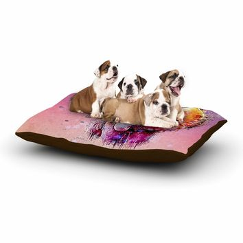 "Ancello ""Watercolor Elephant"" Purple Orange Digital Dog Bed"