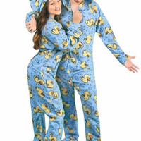 Rubber Ducks Print Hooded Footed Pajamas with Drop Seat