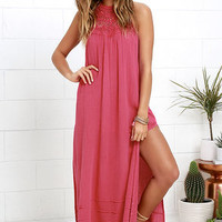 Billabong Midsummer Tides Coral Pink Halter Maxi Dress