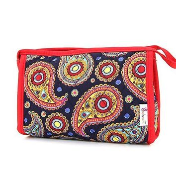 Belvah Quilted Paisley Soft Fabric Cosmetic Case  - Navy / Red