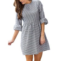Vintage Puff Sleeve Autumn Dress Women Stripe Printing Half Sleeve Loose Mini Dress robe femme ete 2017