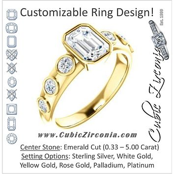Cubic Zirconia Engagement Ring- The Mabel (Customizable Emerald Cut 7-stone Design with Journey-style Round Bezel Band Accents)