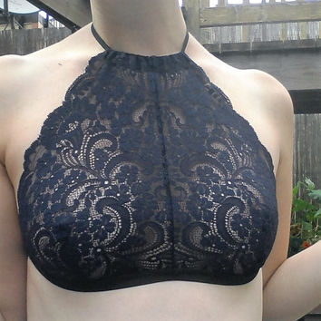 High-Neck Halter Bralette in Navy Floral Lace