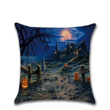 Halloween decoration for home party Old house witch pumpkin cat pattern pillow case Cushion Cover seat chair sofa for kids gift