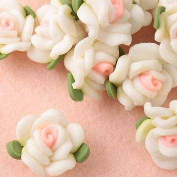 Free Shipping 30Pcs Polymer Fimo White With Pink Clay Flower Beads Spacer Beads 15mm For Jewelry Making Cloth Craft DIY Beads