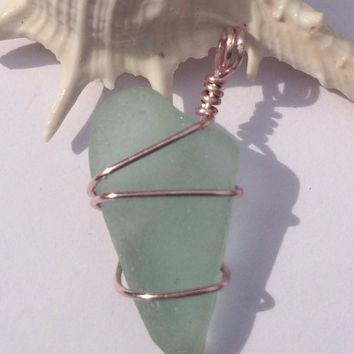 Pastel sunset, rare soft blue sea glass pendant, Rare Beach Glass, sea glass pendant, beach glass jewelry, texas sea glass, wire wrapped