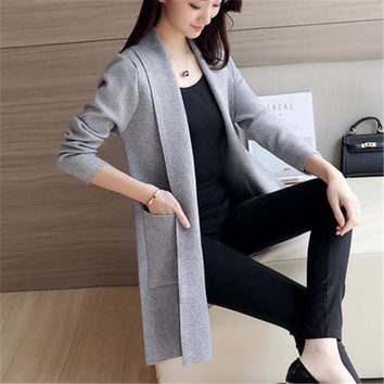 Plus size women clothing 2017 Spring Cardigan Female Medium-Long Wool Sweater Loose Long-sleeve Plus Size sweater ZY3093