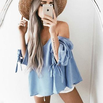 VXL8HQ Sexy off shoulder strapless loose blue top