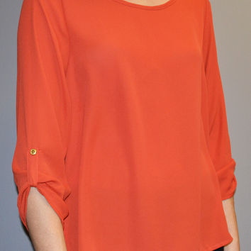 Roll Up Sleeve Solid Basic Top in Orange