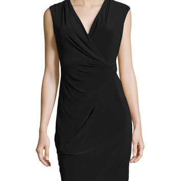 Women's Sleeveless Stretch-Knit Wrap Dress, Black - Chetta B - Black