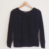 Yeva Black Fuzzy Sweater
