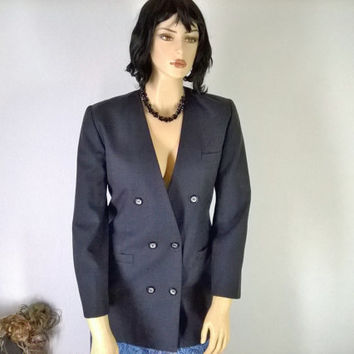 Sze 14 / 16  Boyfriend Blazer, Navy Blue, Double Breasted, Custom Tailored Jacket,  Size L