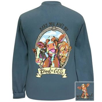 Girlie Girl Originals Preppy Brand Of Cattle Cow Long Sleeve T-Shirt