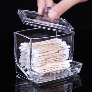 Clear Acrylic Cotton Swab Q-tip Holder Box Cosmetic Makeup Case Storage Desk OrganizerAccessories