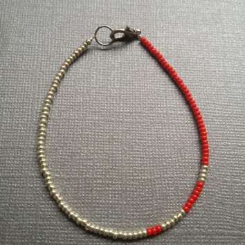 Silver and Opaque Red Seed Bead Bracelet