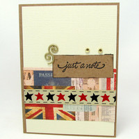 Just a Note - Blank Greeting Card - Americana - Rustic Style - Any Occasion Card - Kraft Card - Vintage Style - Gold Accents
