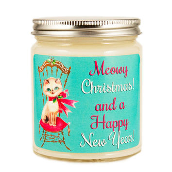 Christmas Kitty Candle, Custom Scented Candle, Vintage Candle, Container Candle, Soy Candle, Christmas Candle, Holiday Candle, Cat Candle