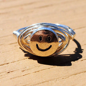 Wire Wrapped Ring Smiley Face by KissMeKrafty on Etsy