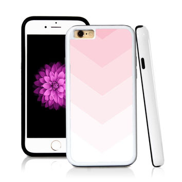 iPhone 6 case Ombre color white in Light Pink with hard plastic and rubber protective cover