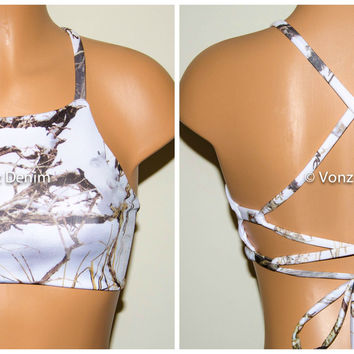 White Snow Camo High Neck Halter Bikini Top, Criss Cross Adjustable Swimwear Bikini Top, 4Th Of July Bathing Suit, Festival Top