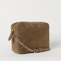 Suede Shoulder Bag - Olive green - Ladies | H&M US