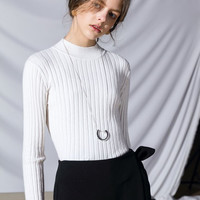 White or Black Soft Wool Knit Shirt