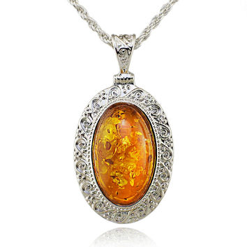 Silver Oval Baltic simulated imitation amber Honey Carved Exquisite Tibet Silver Pendant Necklace Fashion Jewelry L00501