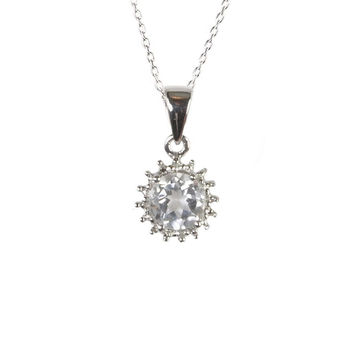Sterling Silver Genuine Diamond and 6mm Round White Topaz Gemstone Necklace