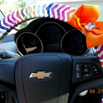 Steering Wheel Cover  Multi Color Chevron with Bow  Car Accessories