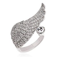 Romantic Austrian Crystal Angel Wing Ring - Other