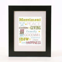 subway art typography holiday wall art 8x10 custom color print