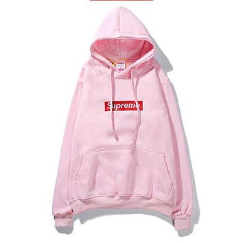 Supreme  Women or Men Fashion Casual Loose Top Sweater Hoodie