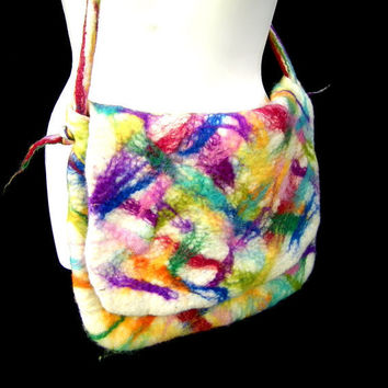 Wet Felted Bag Hand Dyed Rainbow Sprinkle White