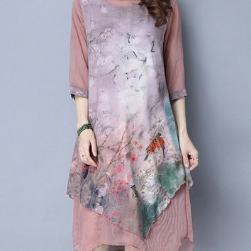 Casual Asymmetric Hem Round Neck Printed Shift Dress