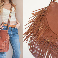 Handmade Hippie Brown Leather Fringe Bag | Crossbody Genuine Leather Fringe Purse | Large Cross Body Messenger Bag | Fringe Bags Handbags