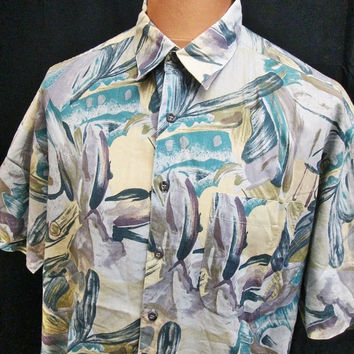 Vintage 80s Shirt Crazy Pattern Greek Roman Shirt XL