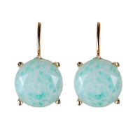 Womens Clip On Earrings Rose Gold Plated Turquoise stone earrings Green Rhinestone Clip-On Earrings Wedding Earrings 2016