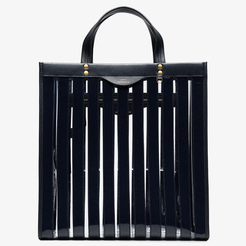marine blue striped vinyl tote