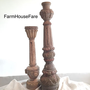Candle Holders Tall Wood Vintage Worn Floor Standing Candle Sticks French Provincial Distressed Wedding Table Center Piece