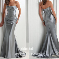 Mermaid silver dress long silver dress cheap prom by okbridal